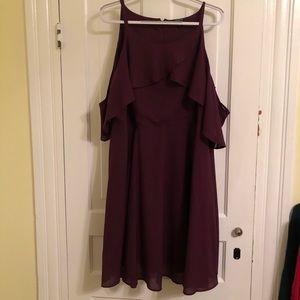 torrid plum dress with drape sleeves